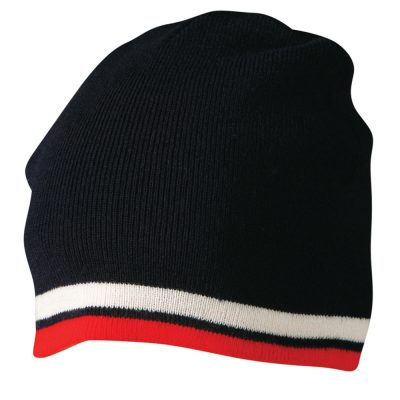 Knitted 100% acrylic contrast stripes beanie