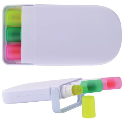 Set of 3 Retractable Highlight Wax Markers in White Case