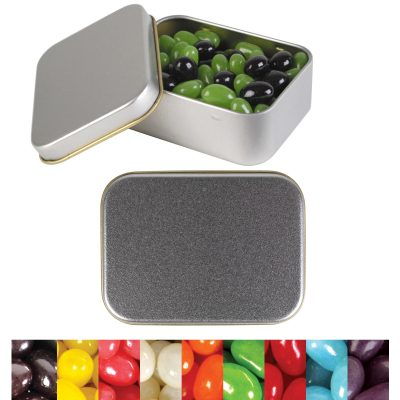 Corporate Colour Mini Jelly Beans in Silver Rectangular Tin
