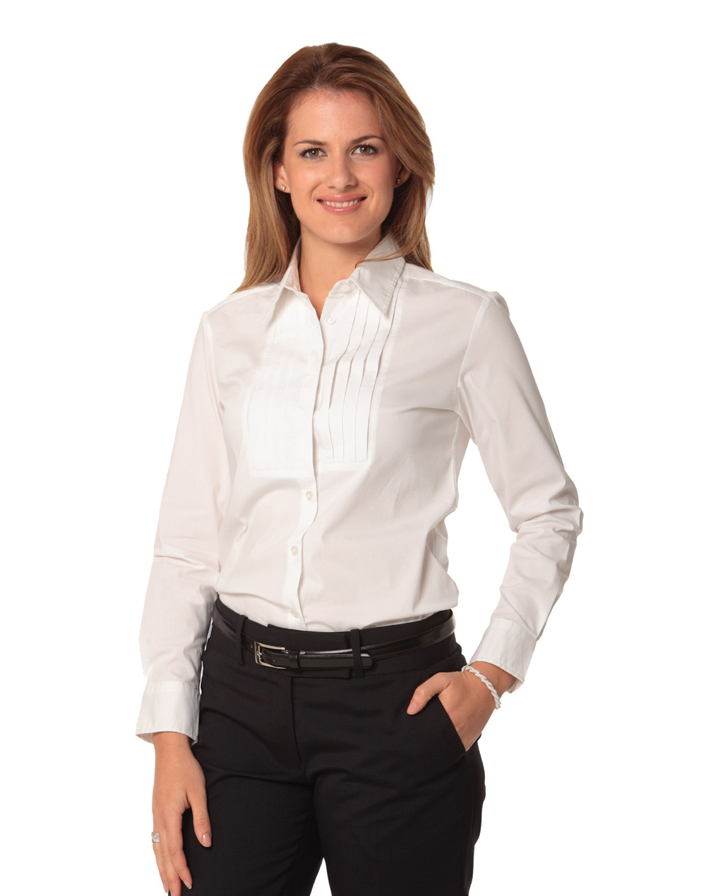 Women 39 s stretch tuck front long sleeve shirt rjs group for Womans long sleeve shirts