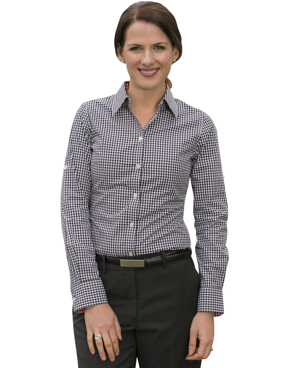 Women 39 s gingham check roll up l s shirt rjs group pty ltd for Pink gingham shirt ladies