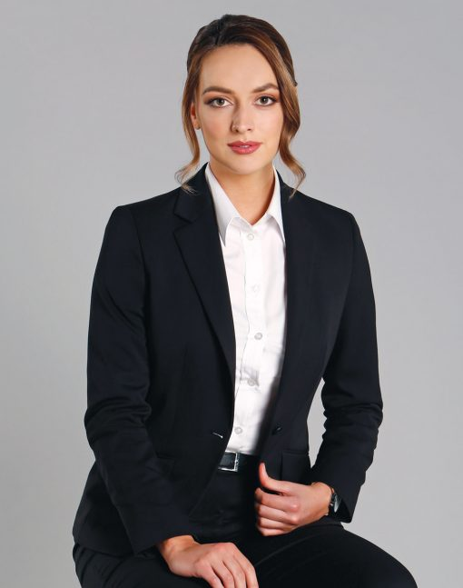 Ladies' Wool Blend Stretch One Button Cropped Jacket