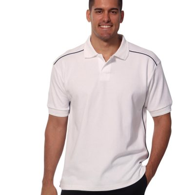 Men's pure cotton contrast piping