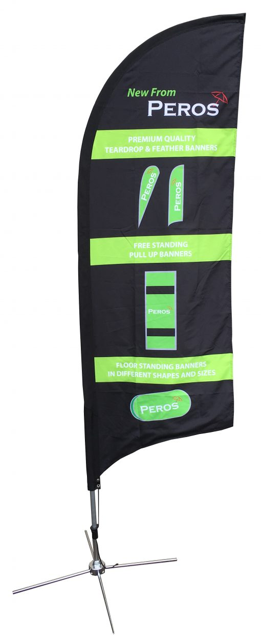Medium Premium Polyester Silk Feather Banner - Double Sided Combo