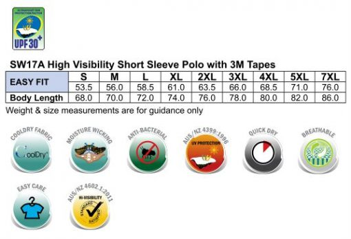 Hi-Vis S/S Safety Polo 3M Tapes