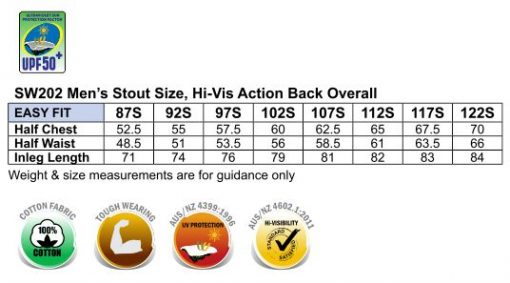 Hi-His Two Tone Men's Cotton Drill Action Back Overall-Stout