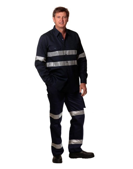 Drill pant pockets on leg with 3M Tapes