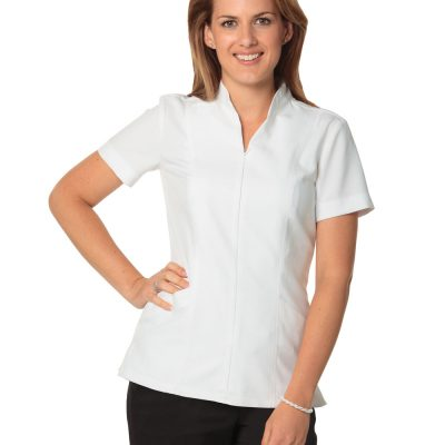 Women's Full Zip Front Short Sleeve Tunic
