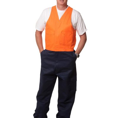 Hi-His Two Tone Men's Cotton Drill Action Back Overall-Regular