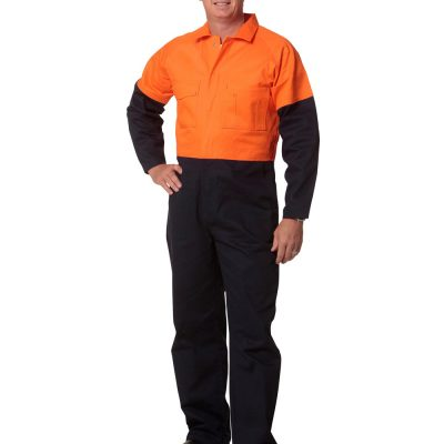 Hi-Vis Two Tone Men's Cotton Drill Coverall-Stout