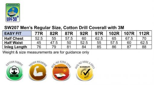 Hi-Vis Men's Light Weight Cotton Coverall with 3M Tape-Regular