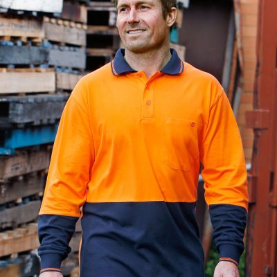 Hi-Vis Cotton Two Tone L/S Safety Polo