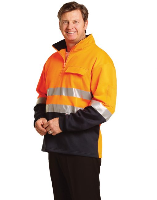 Hi-Vis Two Tone Cotton Fleecy Sweat With 3M tapes