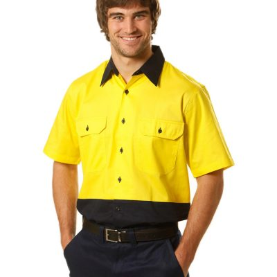 Hi-Vis two tone S/S cotton work shirt