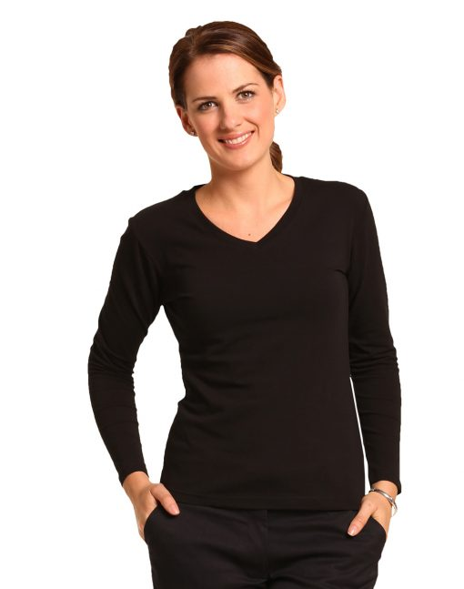 Ladies' V-Neck L/S Tee